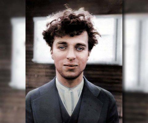 Retrato Colorido Charles Chaplin 1916 Alta Resolução