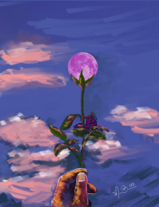 Moon with purple flower
